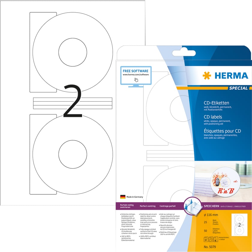 Herma CD/DVD Etikett Special Nr. 5079 PA 50 Stück Ø 116mm Innenloch 41mm