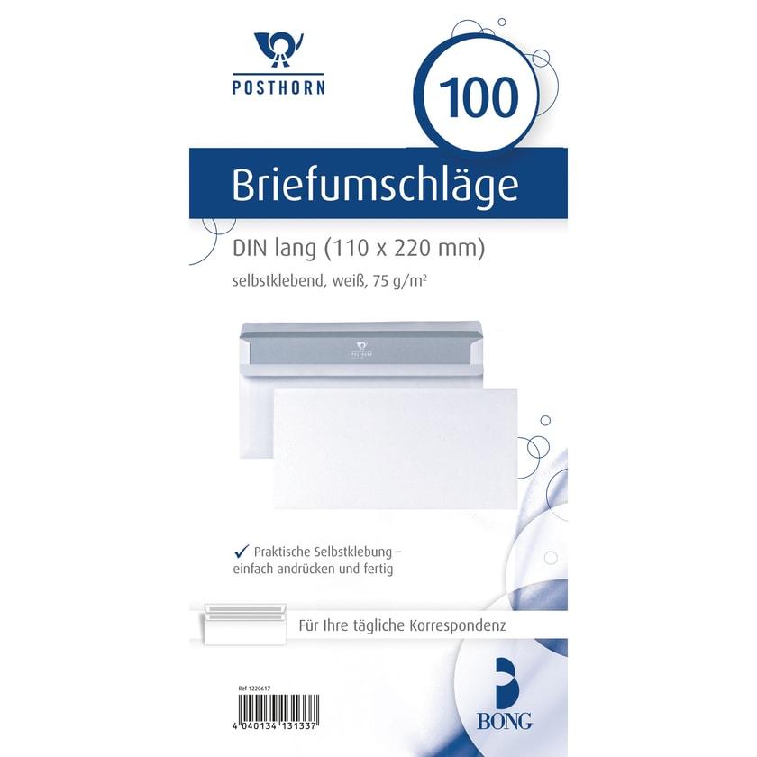 Posthorn Briefumschlag DL weiß selbstklebend 75g Nr. 01220617. PA= 100Stk
