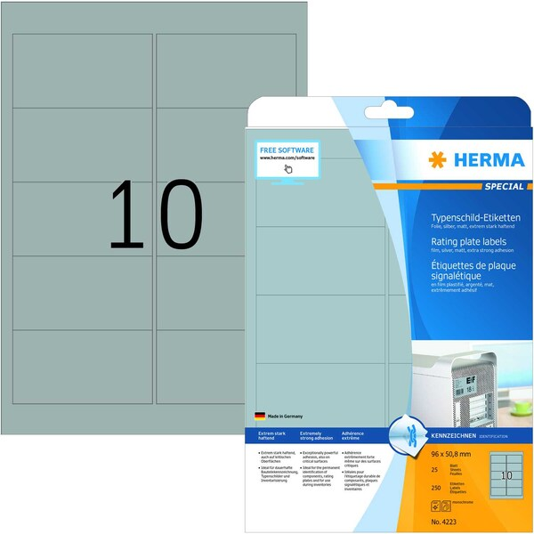 Herma Typenschild Special Nr 4223 silber PA= 250 Stkück 96x508mm