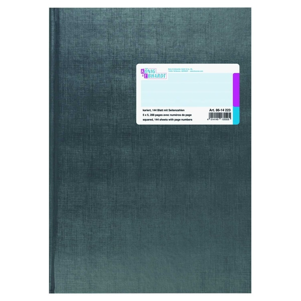 König & Ebhardt Geschäftsbuch A4 kariert Nr. 8614223 144 Blatt anthrazit
