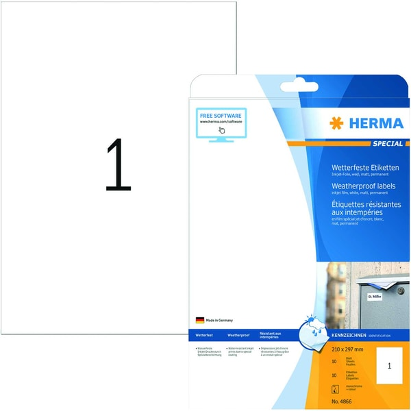 Herma Premium-Etikett Nr. 5065 weiß PA 25Stk 210x297mm bedruckbar