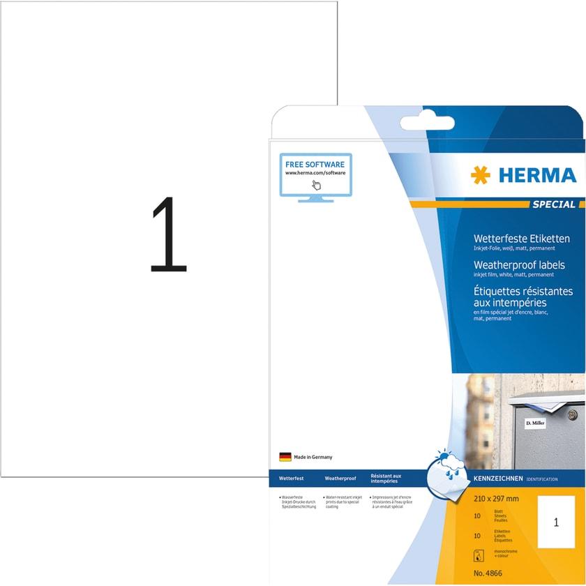Herma Premium-Etikett Nr. 5065 weiß PA= 25Stk 210x297mm bedruckbar