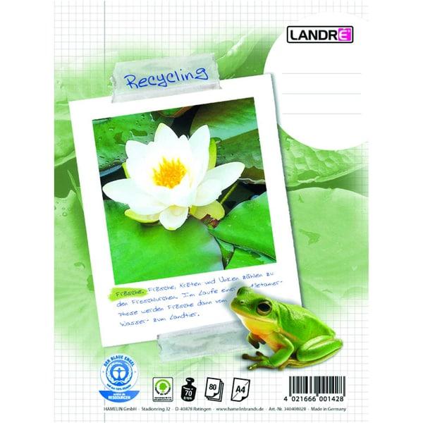 Landré Collegeblock Recycling A4 kariert Nr. 100050220 80Bl 70g Seerose