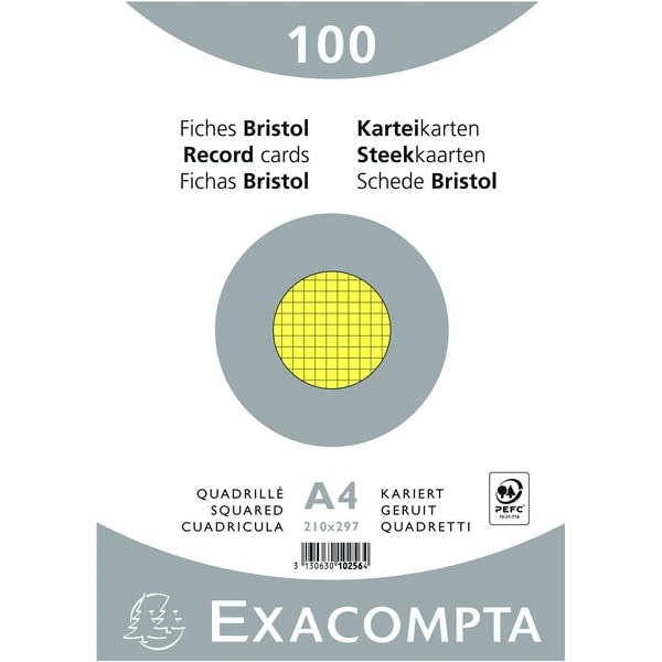 ExacomPTA Karteikarte A4 kariert gelb Nr. 10256E PA 100 Stück