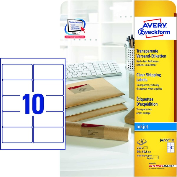 Zweckform Adress-Etikett Nr. J4722-25 PA2.500Sttransparent 96x508 mm Inkjet