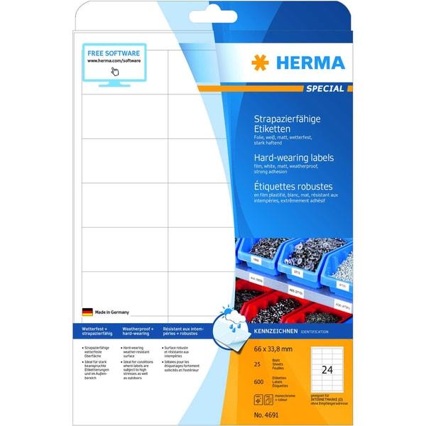 Herma Folien-Etikett Nr. 4691 weiß PA 600Stk 66 x 338mm bedruckbar