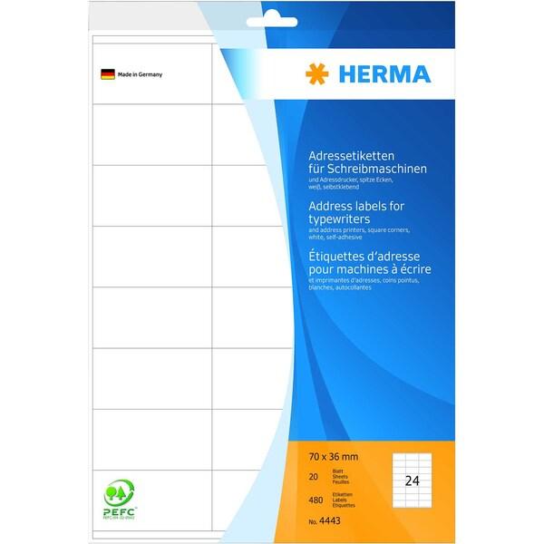 Herma Adress-Etiketten Nr. 4443 weiß PA 480 Stk 70x36mm Schreibmaschine