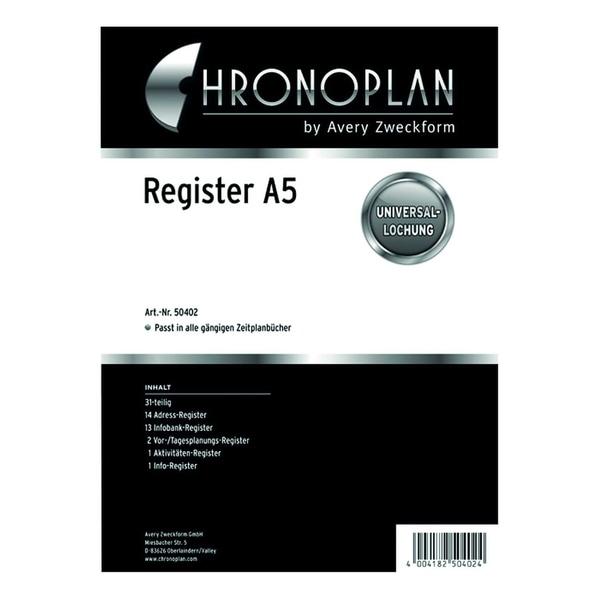 Chronoplan Register A5 31-Teilig Nr. 50402 Kunststoff Blau/Silber