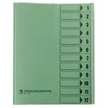 Bene Ordnungsmappen A4 12 Fächer grün Nr. 83800 GN 230g/m² PVC
