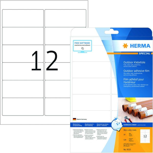 Herma Outdoor-Etikett Nr. 9533 weiß PA= 120Stk 991x423mm Folie bedruckbar