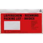 Dokumententasche DL PE MF rot PA= 250StkAufdruck Lieferschein Rechnung