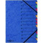Pagna Ordnungsmappe A4 12 Fächer blau Nr. 24131-02 EASY 265g/m² Pressspan