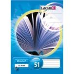 Landré Oktavheft A6 liniert 70g Nr. 100050477. 32 Blatt. Lineatur 51