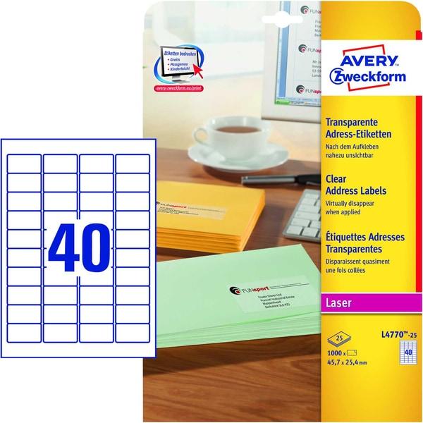 Zweckform Adress-Etikett Nr. L4770-25 PA1.000St transparent 457x254mm