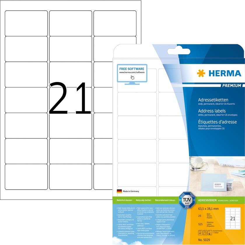 Herma Adressetikett Nr. 5029 matt weiß PA= 525Stk.. 63.5x38.1mm