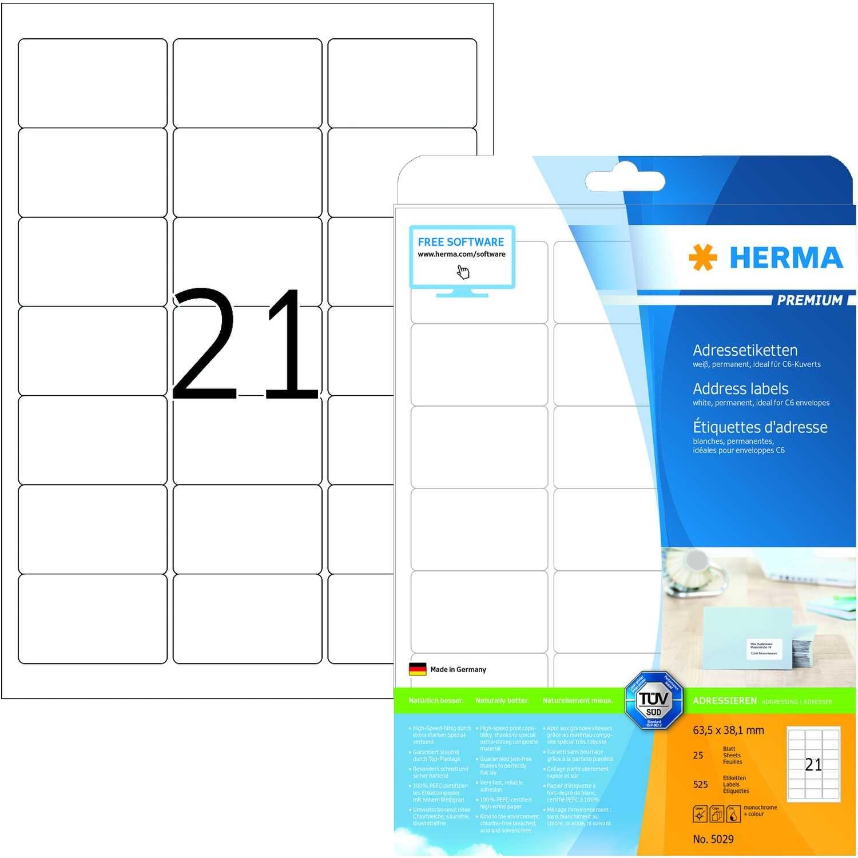 Herma Adressetikett Nr. 5029 matt weiß PA 525Stk 635x381mm