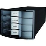 HAN Schubladenbox Impuls schw/transpar. Nr. 1012-363A4/C4 4Fächer geschlossen