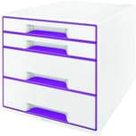 Leitz Schubladenbox WOW Cube A4 Nr. 5213-20-62. 4 Fächer. weiß/violett