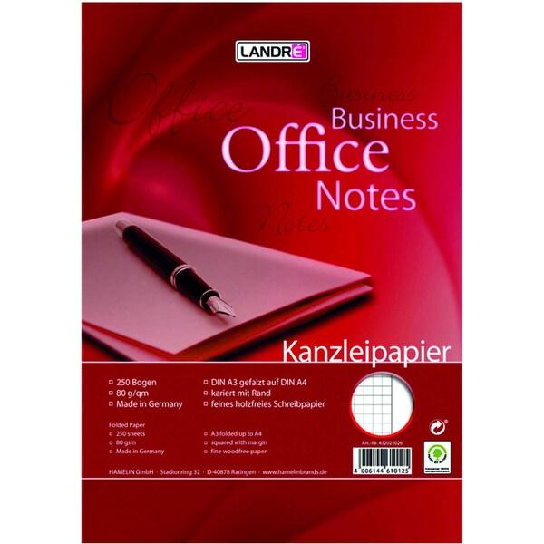 Landré Kanzleipapier A3/A4 kariert weiß Nr. 100050623 mit Rand PA 250 Blatt
