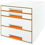 Leitz Schubladenbox Wow Cube A4 Nr. 5213-20-44 4 Fächer Weiß/Orange