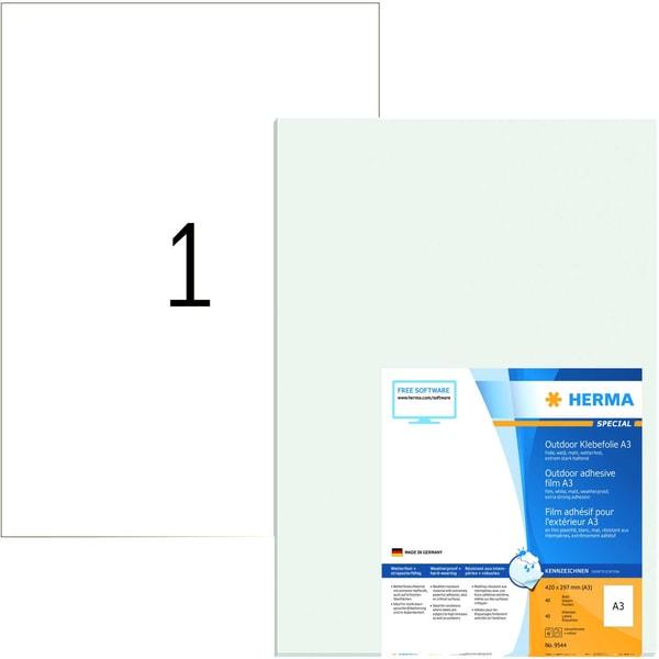 Herma Outdoor-Etikett Nr. 9544 weiß PA 40St 297x420mm Folie bedruckbar