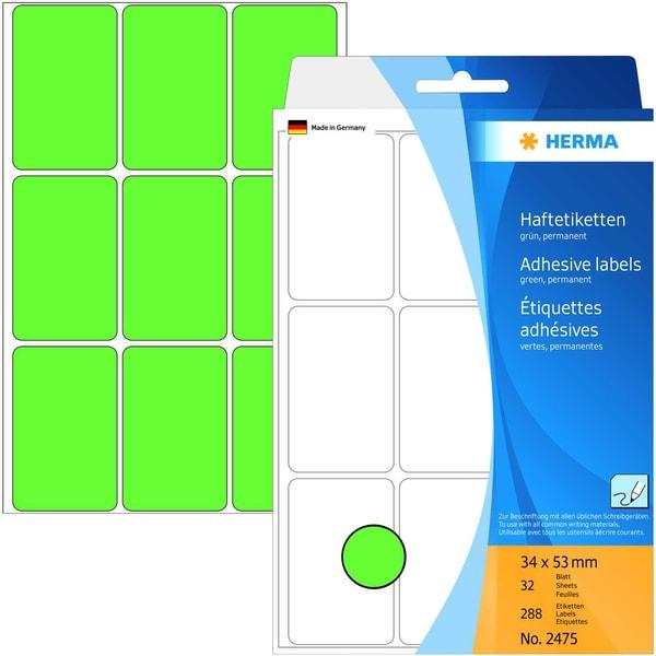 Herma Universaletikett Nr. 2475 grün 288 Stk 34x53mm