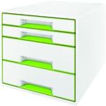 Leitz Schubladenbox WOW Cube A4 Nr. 5213-20-54. 4 Fächer. weiß/grün