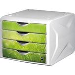 Helit Schubladenbox Chameleon A4/C4 grün Nr. H6129650 4 Schubfächer