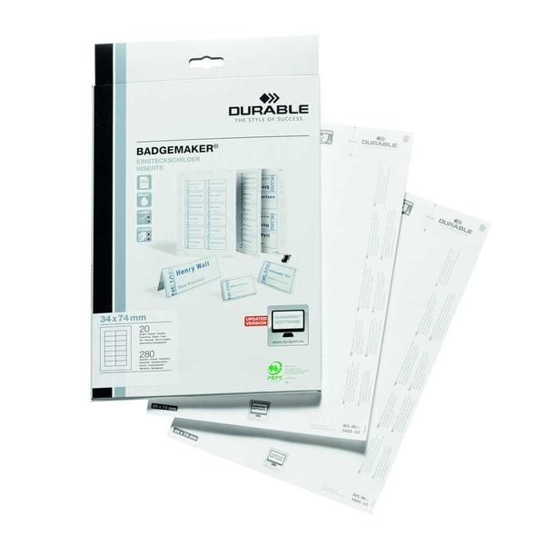 Durable Einsteckschild Badgemaker weiß Nr. 1425-02 34x75mm PA 280 Stück