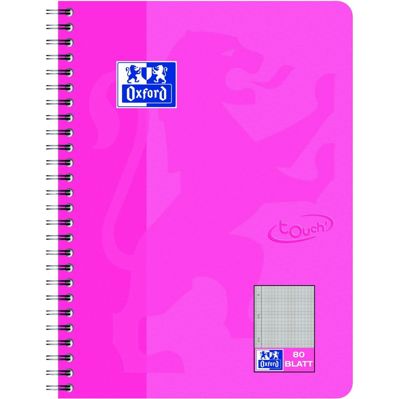 Oxford Collegeblock Touch A4+ kariert Nr. 400086487 80 Blatt 90gm² rosa