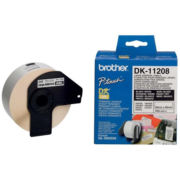 Brother Adress-Etikett Dk 11208 Weiß Pa= 400St 38Mm X 90Mm