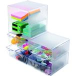 Deflect-o Organisationsbox Cube 350701 2Fächer glasklar