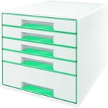 Leitz Schubladenbox WOW Cube A4 Nr. 5214-20-51. 5 Fächer. weiß/eisblau