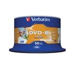Verbatim DVD-R 16x 16x 4.7GB 120Min. Nr. 43533. PA= 50Stk Spindel printable