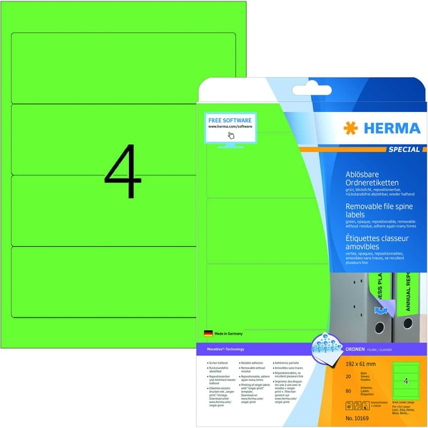 Herma Rückenschild Nr. 10169 grün PA 80Stk breit/kurz Movables ablösbar