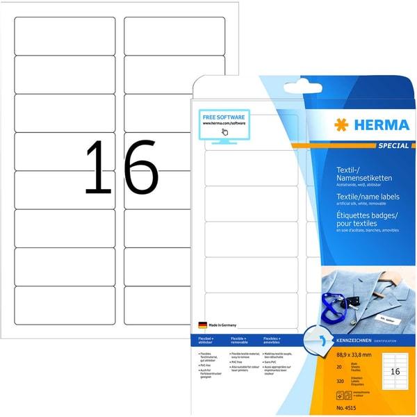 Herma Namensetikett Acetatseide Nr. 4415 PA 320 Stück 889x338mm weiß