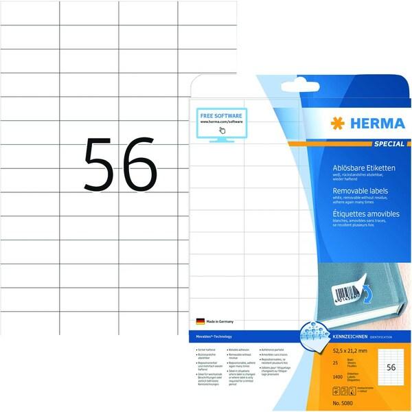 Herma Movables-Etikett Nr. 5080 weiß PA 1.400 Stk 525x212mm ablösbar