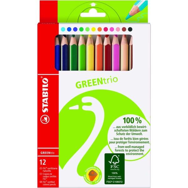 Stabilo GREENtrio Dickkern-Buntstifte 12 Farben