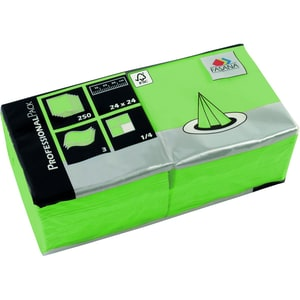 Fasana Serviette 3-lagig 24x24cm Nr. 221355 lime grün PA= 250Stk