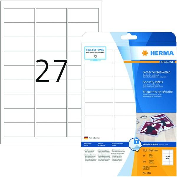 Herma Etikett Sicherheit Nr. 4233 weiß PA 675 Stk 635x295mm