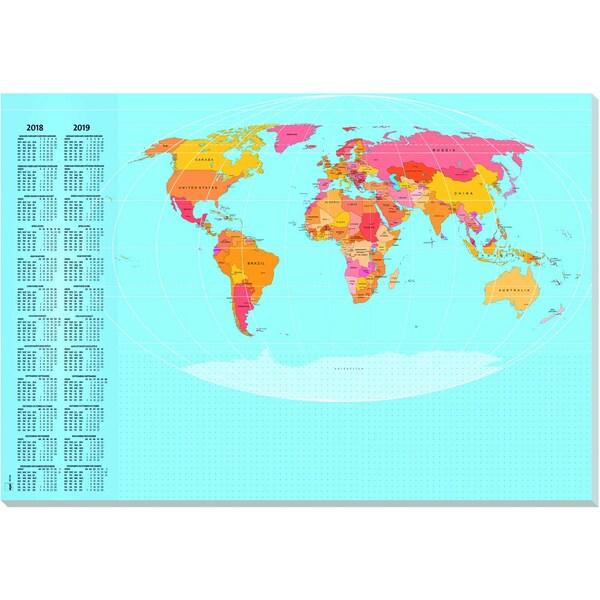 Sigel Schreibunterlage Weltkarte Nr. HO440 595X41cm 30Blatt mit Folie