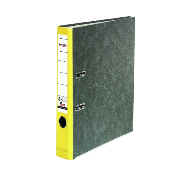 Falken Ordner Recycling A4 50mm gelb Nr. 80023625 Wolkenmarmor Kantenschutz