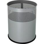 Helit Papierkorb Metall silber 15 Liter Nr. H2515799 Lochdekor Höhe 32cm