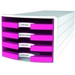 Han Schubladenbox Impuls Weiß/Pink Nr. 1013-56 A4/C4 4Fächer Offen