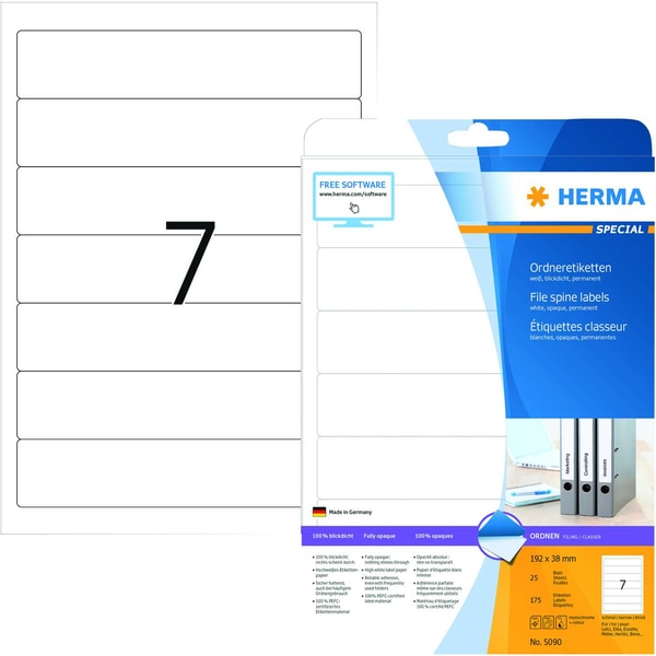Herma Rückenschild Nr. 5090 weiß PA 175Stk schmal/kurz bedruckbar