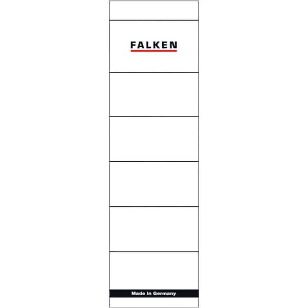 Falken Rückenschild breit/kurz weiß 80039266 PA= 10St handbeschreibbar