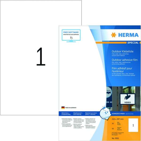 Herma Outdoor-Etiketten Nr. 9501 weiß PA 50St A4 210x297mm Folie bedruckbar