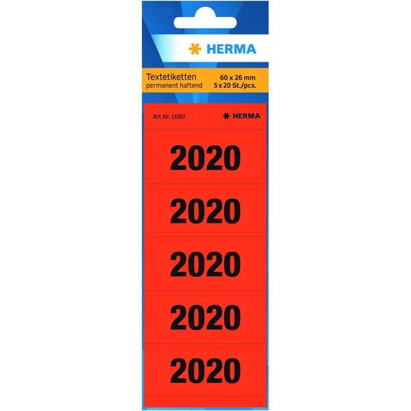 Herma Jahresschild 2020 rot Nr. 1680 PA 100 Stück 6 x 26cm