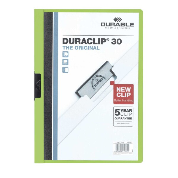 Durable Klemmmappe DURACLIP 30 A4 grün Nr. 2200-05 Füllhöhe 30Bl mit Deckblatt