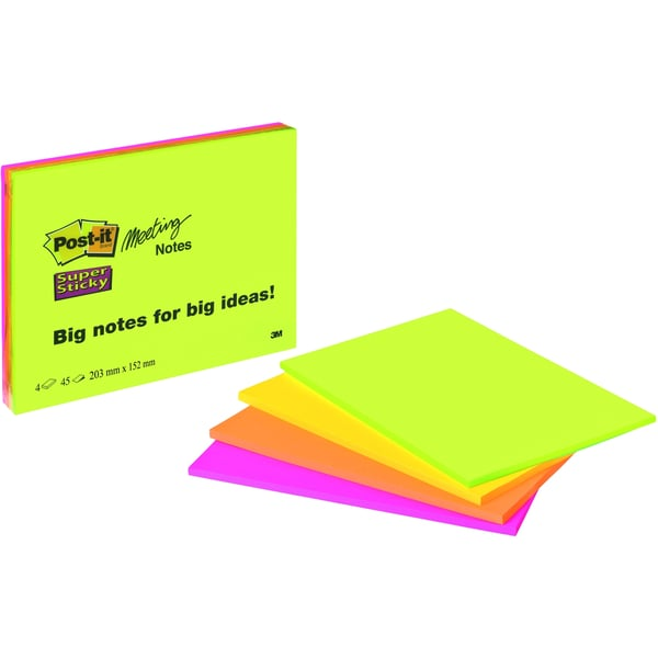 3M Meeting Notes 6845-SSP 4x45Bl 4 Neonfarben 200x149mm